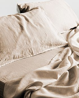Keira linen fitted sheet - wheat