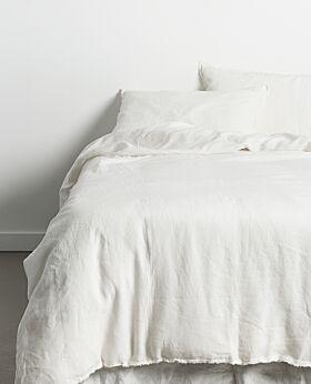 Keira linen duvet set - soft white