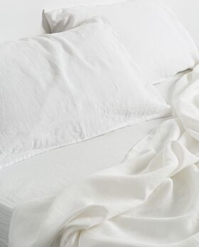 Keira linen flat sheet - queen king - soft white