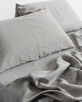 Keira linen fitted sheet- warm grey