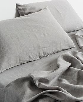 Keira linen duvet cover and pillow case set - warm grey