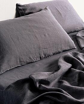 Keira linen flat sheet - queen king - slate