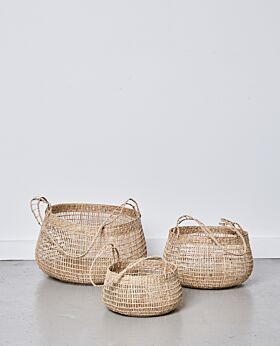 Lally woven basket with long handle - set of 3