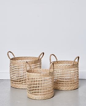 Lally woven basket with loop handle - set of 3