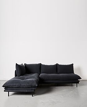 Lucas two-piece modular sofa - black