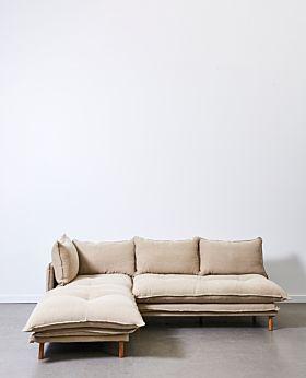 Lucas two-piece modular - left-facing chaise with armless sofa - linen