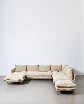 Lucas left-chaise four-piece modular with ottoman - Linen