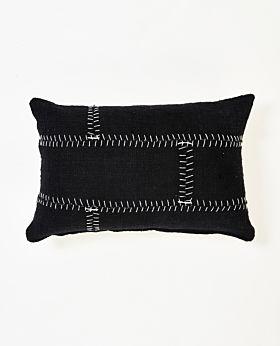 Mabel cushion black with white stitching