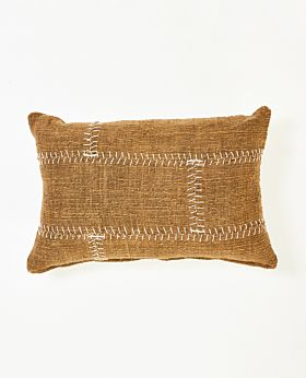 Mabel cushion natural with white stitching