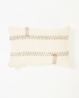 Mabel cushion white with grey stitching