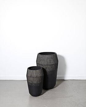 Marmont tall textured planter - black
