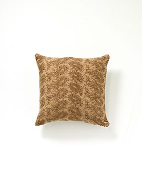 Martha velvet embroidered cushion - mustard