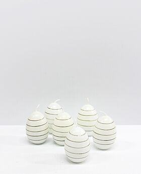 Meadow stripe egg candles set- 6 sm