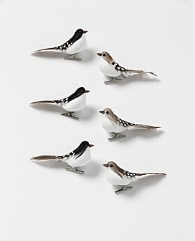 Noir birds - white spots mini set of 6