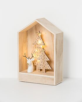 Noir LED house with tree & reindeer