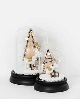 Noir LED snowdome with reindeer & tree - black