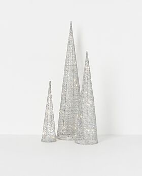 North Pole LED cone tree - silver sparkle