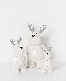 North Pole standing ceramic reindeer
