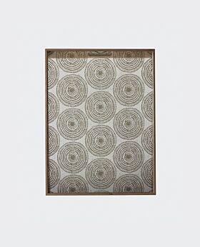 Notre Monde rectangular tray - aged mirror - mist