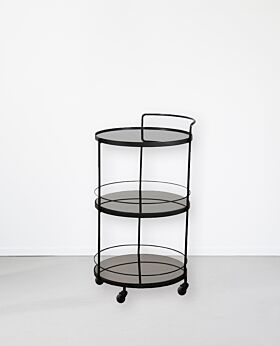 Notre Monde round bar cart - charcoal