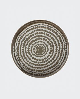 Notre Monde round tray - aged mirror - mist with gold beads