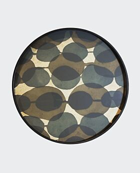 Notre Monde round tray - connected dots