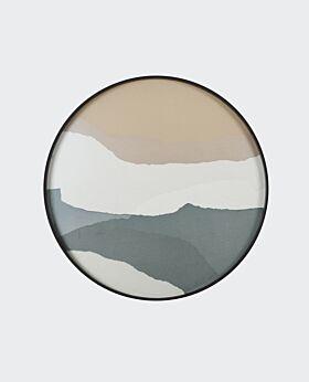Notre Monde round tray - glass wabi sabi slate- large
