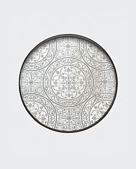 Notre Monde round tray - Moroccan mirrored frost