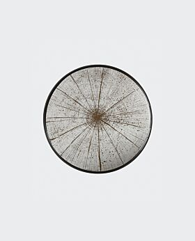 Notre Monde round tray - slice - mirrored silver