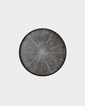 Notre Monde round tray - slice - timber charcoal