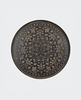 Notre Monde round tray - timber black Marrakesh