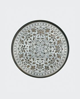 Notre Monde round tray - timber white Marrakesh