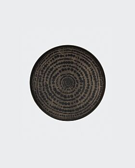 Notre Monde round tray - timber with black beads