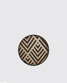 Notre Monde round tray - timber with black chevron