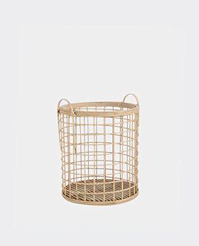 Pacific bamboo round open weave basket - medium