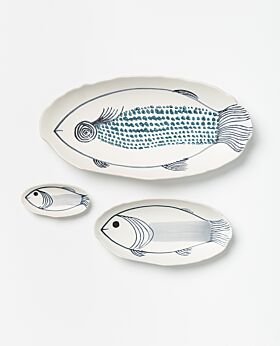 Pisces hand-painted platters - set of 3