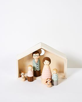 Playtime wooden people in house - large