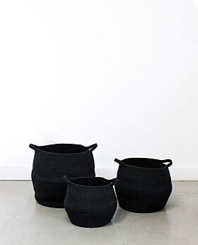 Port cotton rope basket - black