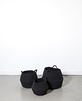 Port cotton rope basket - black