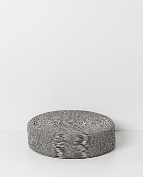 Sorrel round cotton and jute floor cushion - grey-
