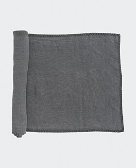 St Claire linen table runner - charcoal