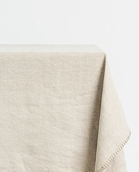 St Claire linen tablecloth rectangular - stone