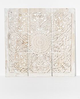 Temple carved panel whitewash - large - 3 panels