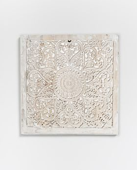 Temple carved panel whitewash - medium