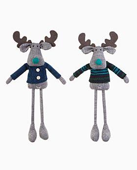 Whisper linen standing reindeer ocean blue asst se